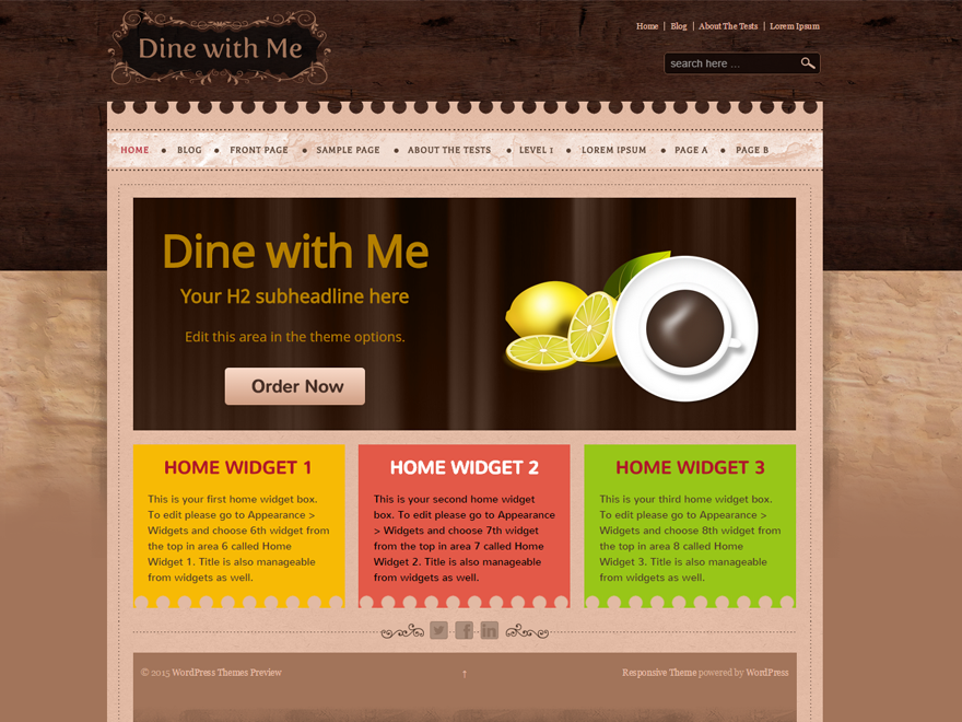 WordPress Theme: Dine With Me