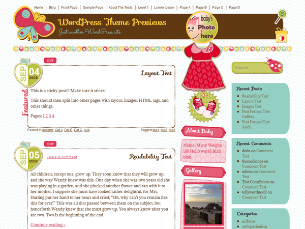 WordPress Theme: It's a Girl