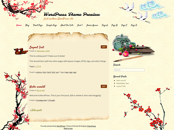 WordPress Theme: Oriental Writing