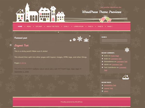 WordPress Theme: Pink Xmas