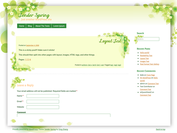 WordPress Theme: Tender Spring